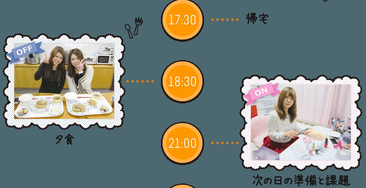 17:30帰宅 18:30夕食 21:00次の日の準備と課題